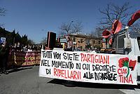 Roma, 22 Marzo 2019<br /> Striscione per la staffetta partigiana Tina Costa.<br /> Corteo di studenti e associazioni fino al Mausoleo delle Fosse Ardeatine per il 75°anniversario della strage