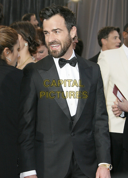 Justin Theroux.85th Annual Academy Awards held at the Dolby Theatre at Hollywood & Highland Center, Hollywood, California, USA..February 24th, 2013.oscars half length black tuxedo white shirt bow tie beard facial hair mouth open smiling .CAP/ADM.©AdMedia/Capital Pictures.