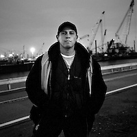USA. Bayonne. 11th December  2007..Longshoreman Jorge Aguilar photographed outside Global Docks, Bayonne, New Jersey. The docks of New York and New Jersey have for generations been synonymous with organised crime, with the Genovese family in control of the New Jersey waterfront and the Gambinos in control of the New York side..©Andrew Testa