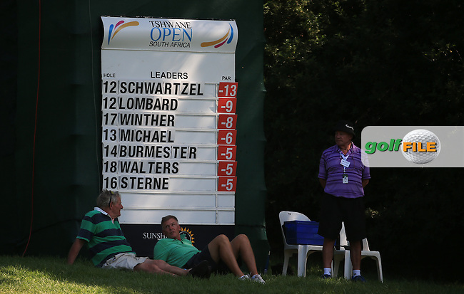 Scoreboard towards the closing holes during the Final Round of the 2016 Tshwane Open, played at the Pretoria Country Club, Waterkloof, Pretoria, South Africa.  14/02/2016. Picture: Golffile | David Lloyd<br /> <br /> All photos usage must carry mandatory copyright credit (&copy; Golffile | David Lloyd)