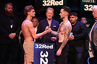 Archie Sharp (L) and Jordan McCorry during a Weigh In at the BT Studios, Queen Elizabeth Olympic Park on 12th July 2019