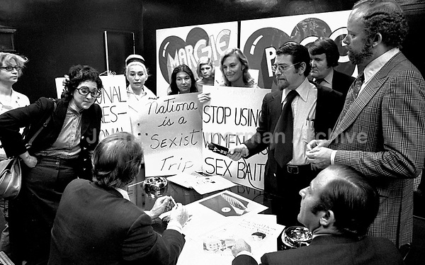 "The National Organization for Women (NOW) protests the ""Fly Me"" ad campaign released in 1971 by National Airlines. NOW denounced the campaign for the depiction of women as sex objects. New York City. L86629-C01-F25A. Photo by John G. Zimmerman."