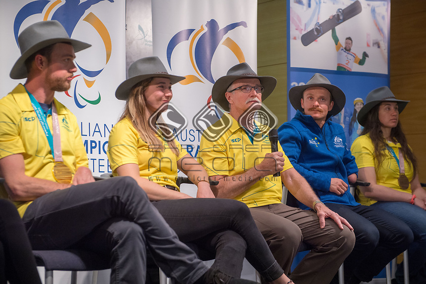 Welcome home / Press Conference / Nick Dean<br /> PyeongChang 2018 Paralympic Games<br /> Australian Paralympic Committee<br /> Sydney International Airport<br /> PyeongChang South Korea<br /> Tuesday March 20th 2018<br /> © Sport the library / Jeff Crow