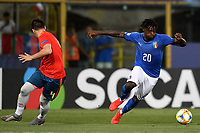 Jorge Mere of Spain , Moise Kean of Italy <br /> Bologna 16-06-2019 Stadio Renato Dall'Ara <br /> Football UEFA Under 21 Championship Italy 2019<br /> Group Stage - Final Tournament Group A<br /> Italy - Spain <br /> Photo Andrea Staccioli / Insidefoto