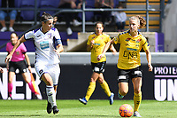 20190810 - ANDERLECHT, BELGIUM : Anderlecht's Laura De Neve pictured defending on LSK's Synne Skinnes Hansen (r) during the female soccer game between the Belgian RSCA Ladies – Royal Sporting Club Anderlecht Dames  and the Norwegian LSK Kvinner Fotballklubb ladies , the second game for both teams in the Uefa Womens Champions League Qualifying round in group 8 , saturday 10 th August 2019 at the Lotto Park Stadium in Anderlecht  , Belgium  .  PHOTO SPORTPIX.BE for NTB NO | DAVID CATRY