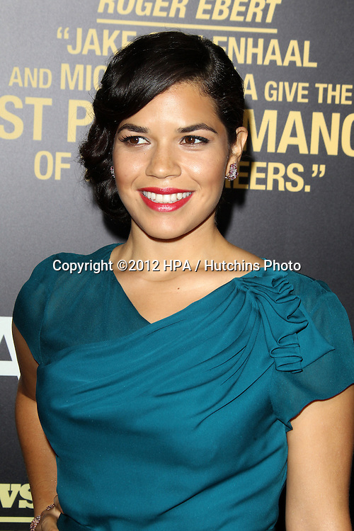 """LOS ANGELES - SEP 17:  America Ferrera arrives at the """"End Of Watch"""" Premiere at Regal Cinemas L.A. Live on September 17, 2012 in Los Angeles, CA"""