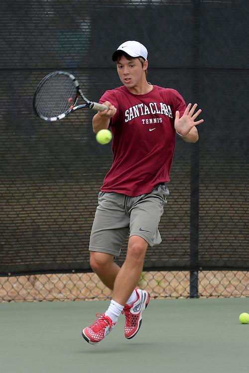 April 24, 2013; San Diego, CA, USA; Santa Clara Broncos player Tomasz Soltyka during the WCC Tennis Championships at Barnes Tennis Center.