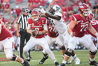 TCU Horned Frogs vs Arkansas Razorbacks –Austin Allen (8) of the Razorbacks tries to avoid Michael Taylor II of the Horned Frogs at Donald W. Reynolds Razorback Stadium, University of Arkansas,  Fayetteville, AR, on Saturday, September 9, 2017,  © 2017 David Beach