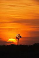 Wind mill at sunset, Sinton, Corpus Christi, Coastal Bend, Texas, USA