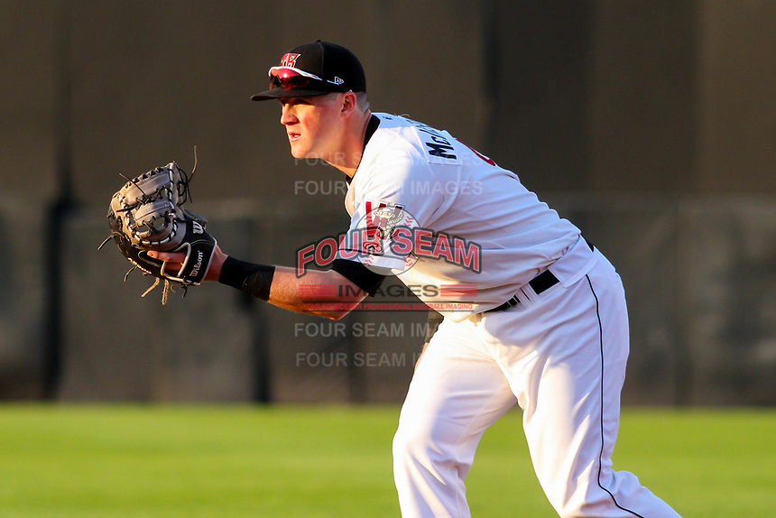 Wisconsin Timber Rattlers first baseman Pat McInerney (9) during a Midwest League game against the Beloit Snappers on May 17, 2018 at Fox Cities Stadium in Appleton, Wisconsin. Beloit defeated Wisconsin 8-7. (Brad Krause/Four Seam Images)