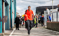 Joel Matip of Liverpool arrives at the ground during the 2016/17 Pre Season Friendly match between Tranmere Rovers and Liverpool at Prenton Park, Birkenhead, England on 8 July 2016. Photo by PRiME Media Images.