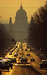 State Street and Capitol, Harrisburg, Pennsylvania, sunset