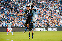 Kansas City, KS - Wednesday August 9, 2017: Darwin Ceren, Latif Blessing during a Lamar Hunt U.S. Open Cup Semifinal match between Sporting Kansas City and the San Jose Earthquakes at Children's Mercy Park.