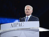 Washington, DC - March 20, 2016: AIPAC CEO Howard Kohr speaks before an estimated 18,000 attendees of the AIPAC Policy Conference at the Verizon Center in the District of Columbia, March 20, 2016. AIPAC is engaged in promoting and protecting the U.S.-Israel relationship to enhance security for both countries. (Photo by Don Baxter/Media Images International)