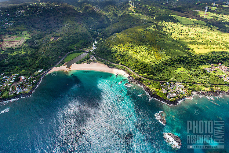 An aerial view of Waimea Bay and its beach park, North Shore, O'ahu.
