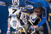 Husqvarna mechanic at Spanish Motocross Championship at Albaida circuit (Spain), 22-23 February 2014