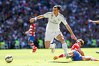 Real Madrid´s Welsh forward Gareth Bale in the action of his goal