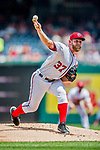 29 April 2017: Washington Nationals starting pitcher Stephen Strasburg on the mound in the first inning against the New York Mets at Nationals Park in Washington, DC. The Mets defeated the Nationals 5-3 to take the second game of their 3-game weekend series. Mandatory Credit: Ed Wolfstein Photo *** RAW (NEF) Image File Available ***
