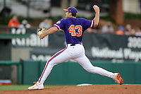 Pitcher Patrick Andrews #43 delivers a pitch during a  game against the Miami Hurricanes at Doug Kingsmore Stadium on March 31, 2012 in Clemson, South Carolina. The Tigers won the game 3-1. (Tony Farlow/Four Seam Images)..
