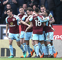 Burnley players celebrate Chris Wood's (2nd Right) opening goal <br /> <br /> Photographer Rich Linley/CameraSport<br /> <br /> The Premier League - Burnley v Leicester City - Saturday 14th April 2018 - Turf Moor - Burnley<br /> <br /> World Copyright &copy; 2018 CameraSport. All rights reserved. 43 Linden Ave. Countesthorpe. Leicester. England. LE8 5PG - Tel: +44 (0) 116 277 4147 - admin@camerasport.com - www.camerasport.com