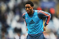 Leroy Fer of Swansea City during the warm up before the Barclays Premier League match between Leicester City and Swansea City played at The King Power Stadium, Leicester on April 24th 2016