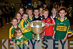 Duagh Visit :THe Sam Maguire Cup visiting Duagh National School on Saturday night last, Front: Grace & Robin Cahill, centre row:Ruth Cahill, l irby,Darragh Maher & Kaitlin Dennehy. Bact rowAmy O