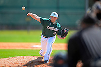 Chicago State University Cougars pitcher Eric Hall #24 during a game against the St. Bonaventure Bonnies at South County Regional Park on March 3, 2013 in Punta Gorda, Florida.  (Mike Janes/Four Seam Images)