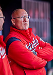 15 April 2018: Washington Nationals Director of Athletic Training Paul Lessard watches play from the dugout during a game against the Colorado Rockies at Nationals Park in Washington, DC. All MLB players and umpires wore Number 42 to commemorate the life of Jackie Robinson and to celebrate Black Heritage Day in pro baseball. The Rockies edged out the Nationals 6-5 to take the final game of their 4-game series. Mandatory Credit: Ed Wolfstein Photo *** RAW (NEF) Image File Available ***