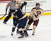 Jordan Gross (Notre Dame - 3), Andrew Peeke (Notre Dame - 22), Colin White (BC - 18) - The Boston College Eagles defeated the University of Notre Dame Fighting Irish 6-4 (EN) on Saturday, January 28, 2017, at Kelley Rink in Conte Forum in Chestnut Hill, Massachusetts.The Boston College Eagles defeated the University of Notre Dame Fighting Irish 6-4 (EN) on Saturday, January 28, 2017, at Kelley Rink in Conte Forum in Chestnut Hill, Massachusetts.