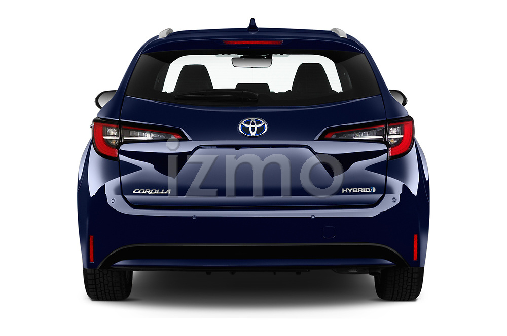 Straight rear view of a 2019 Toyota Corolla Touring Sports Dynamic 5 Door Wagon stock images