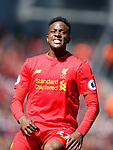Divock Origi of Liverpool reacts to a missed chance during the English Premier League match at Anfield Stadium, Liverpool. Picture date: May 7th 2017. Pic credit should read: Simon Bellis/Sportimage