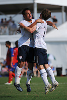 Michael Stephens (14) of the USA celebrates scoring with Danny Cruz (7). The US U-20 Men's National Team defeated the U-20 Men's National Team of Costa Rica 2-1 in an international friendly during day four of the US Soccer Development Academy  Spring Showcase in Sarasota, FL, on May 25, 2009.