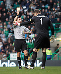 Fraser Forster booked for unsporting behaviour before the penalty