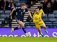 19th November 2019; Hampden Park, Glasgow, Scotland; European Championships 2020 Qualifier, Scotland versus Kazakhstan; James Forrest of Scotland gets away from Gafurzhan Suyumbayev of Kazakhstan - Editorial Use