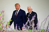 United States President Donald J. Trump escorts President Sergio Mattarella of the Italian Republic on the Colonnade of the White House in Washington, DC as they walk to the Oval Office on Wednesday, October 16, 2019.<br /> Credit: Ron Sachs / CNP