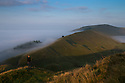 08/09/15<br /> <br /> ***WITH VIDEO***<br /> The view from the summit of Mam Tor towards Rush Up Edge at dawn as a cloud inversion shrouds the lower lying land of the Derbyshire Peak District with mist near Edale.<br /> <br /> All Rights Reserved: F Stop Press Ltd. +44(0)1335 418629   www.fstoppress.com.