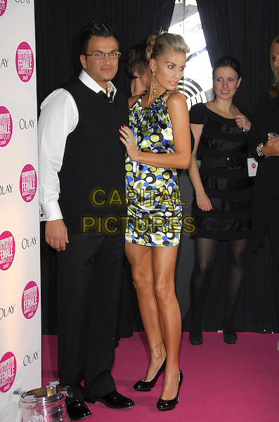 PETER ANDRE & KATIE PRICE - JORDAN .Arrivals - Cosmopolitan Fun Fearless Female Awards 2007 held at Cirque, Leicester Square, London, England, November 6th 2007..full length black blue and green spot patterned print dress  halterneck husband wife glasses black tank top white shirt.CAP/CAS.©Bob Cass/Capital Pictures.