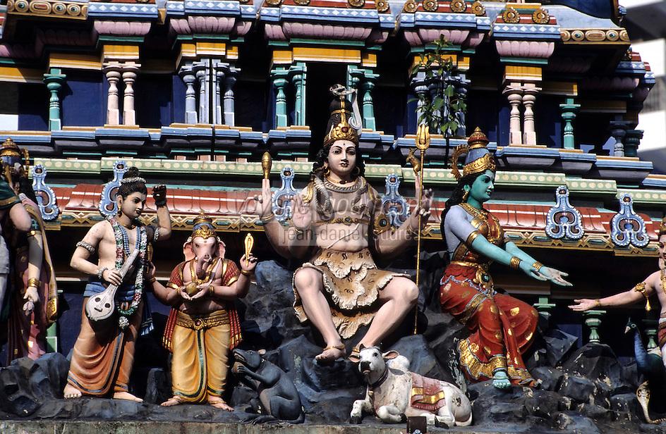 """Asie/Singapour/Singapour: Le """"Tiger Balm Garden"""" construit par les frères Haw devenus riches après l'invention du baume du tigre - Détail d'un temple"""