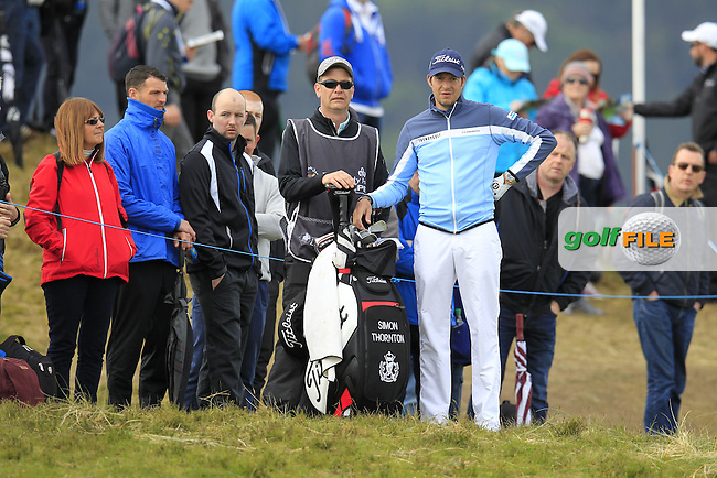 Simon THORNTON (IRL) prepares to play his 2nd shot from the rough on the 6th hole during Saturday's Round 3 of the 2015 Dubai Duty Free Irish Open, Royal County Down Golf Club, Newcastle Co Down, Northern Ireland 5/30/2015<br /> Picture Eoin Clarke, www.golffile.ie