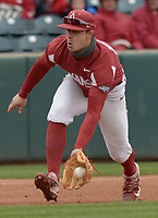 NWA Democrat-Gazette/ANDY SHUPE<br />Arkansas third baseman Casey Martin fields a ball hit to the infield against South Carolina Saturday, April 14, 2018, during the fifth inning at Baum Stadium. Visit nwadg.com/photos to see more photographs from the game.