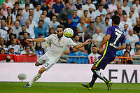 Real Madrid's Spanish defense Dani Carvajal and Malaga´s Juankar