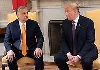 United States President Donald J. Trump meets with Prime Minister Viktor Orban of Hungary in the Oval Office of the White House in Washington, DC on Monday, May 13, 2019.  The two leaders will meet for about an hour. Photo Credit: Chris Kleponis/CNP/AdMedia