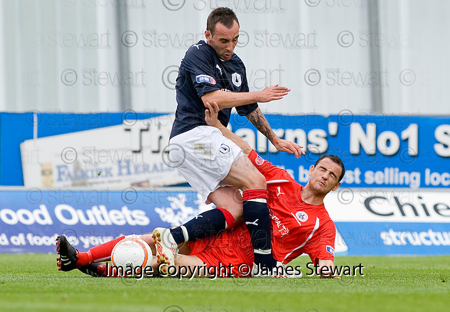 21/08/2010   Copyright  Pic : James Stewart.sct_jsp006_falkirk_v_stirling_alb  .:: MARK STEWART IS CHALLENGE BY ANDY GIBSON  :: .James Stewart Photography 19 Carronlea Drive, Falkirk. FK2 8DN      Vat Reg No. 607 6932 25.Telephone      : +44 (0)1324 570291 .Mobile              : +44 (0)7721 416997.E-mail  :  jim@jspa.co.uk.If you require further information then contact Jim Stewart on any of the numbers above.........