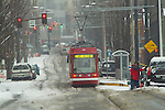 Portland streetcar in the snow, Pearl District