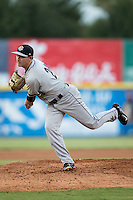 Charleston RiverDogs starting pitcher Justin Kamplain (26) follows through on his delivery against the Hickory Crawdads at L.P. Frans Stadium on August 25, 2015 in Hickory, North Carolina.  The Crawdads defeated the RiverDogs 7-4.  (Brian Westerholt/Four Seam Images)