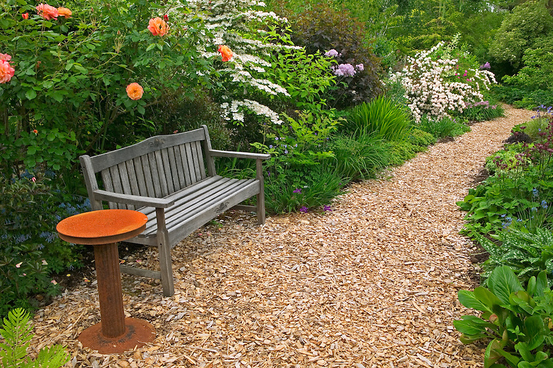 Chip wood path and bench at Northwest Garden Nursery, Eugene, Oregon