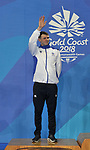 Ross MURDOCH (SCO) waves as he gets on the podium to receive his silver medal won in the mens 200m. Swimming finals. XXI Commonwealth games. Optus Aquatics Centre. Gold Coast 2018. Queensland. Australia. 05/04/2018. ~ MANDATORY CREDIT Garry Bowden/SIPPA - NO UNAUTHORISED USE - +44 7837 394578