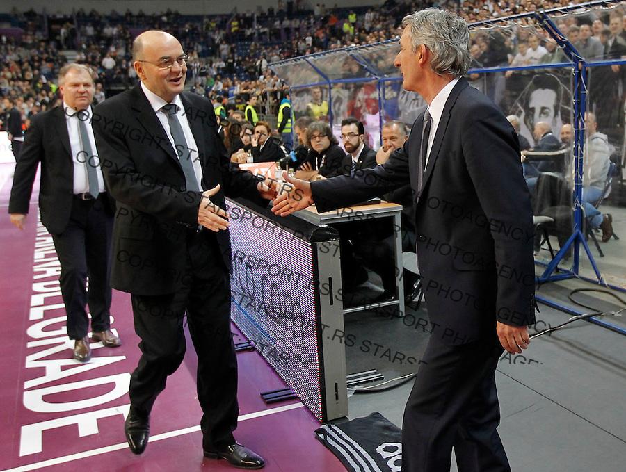 Kosarka Euroleague season 2013-2014<br /> Euroleague TOP 16<br /> Partizan v Bayern Munich<br /> Head coach Svetislav Pesic (R) and head coach Dusko Vujosevic (L) shake hands<br /> Beograd, 03.06.2014<br /> foto: Srdjan Stevanovic/Starsportphoto &copy;