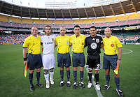 DC United captain Jaime Moreno (99) poses with Real Salt Lake captain Kyle Beckerman (5) with game referees following the coin toss.   DC United tied Real Salt Lake 0-0 at  RFK Stadium, Saturday May 23, 2009.
