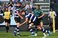 Elliott Stooke of Bath Rugby celebrates his first half try. Aviva Premiership match, between Bath Rugby and London Irish on May 5, 2018 at the Recreation Ground in Bath, England. Photo by: Patrick Khachfe / Onside Images